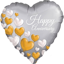 Anniversary Platinum Hearts Foil Balloons Delivery UK