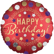 Happy Birthday Red Satin Foil Balloons Delivery UK