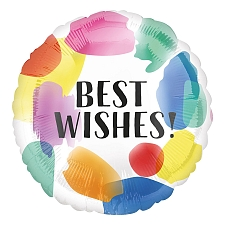 Best Wishes Painted Swoosh Foil Balloons Delivery UK