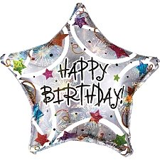 Happy Birthday Stars Foil Balloons Delivery UK