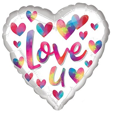 Love U Colour Splash Foil Balloons Delivery to UK