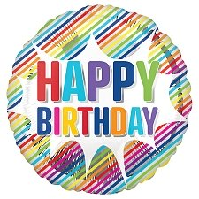 Happy Birthday Striped Burst Foil Balloons Delivery UK