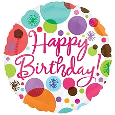 Happy Birthday Dots and Sparkles Foil Balloon Delivery UK