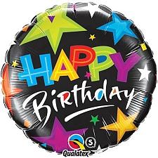 Birthday Brilliant Stars Black Foil Balloon Delivery UK