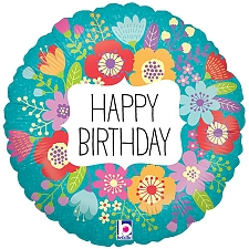 Wildflowers Birthday Round Foil Balloon Delivery UK