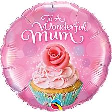 Wonderful Mum Cupcake Foil Balloon Delivery UK