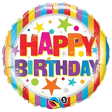 Happy Birthday Stripes and Stars Foil Balloon Delivery UK