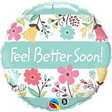 Feel Better Soon Floral Round Foil Balloon Delivery UK
