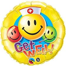 Get Well Smiley Faces Foil Balloon Delivery UK