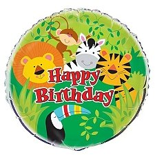 Animal Jungle Happy Birthday Foil Balloon Delivery UK