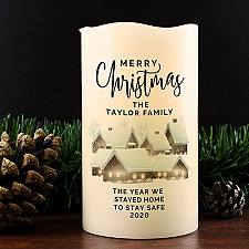 Personalised Christmas Town LED Candle Delivery UK