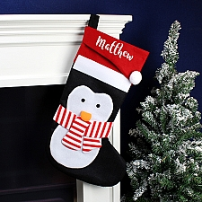 Personalised Name Only Penguin Christmas Stocking Delivery UK