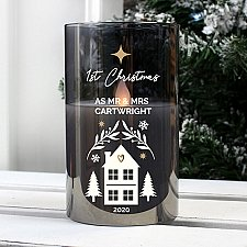 Personalised Christmas Smoked Glass LED Candle Delivery UK