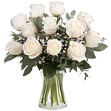 12 Classic White Roses Delivery to Liechtenstein