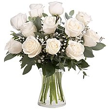 12 Classic White Roses Delivery to Mexico