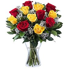 12 Yellow and Red Roses Delivery to Hungary