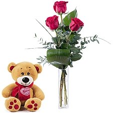 Teddy & 3 Red Roses Delivery to Greece