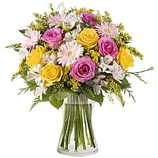 Yellow and Pink Roses Delivery to Indonesia