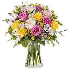 Yellow and Pink Roses Delivery to China