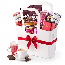 Gourmet Breakfast Gift in White Koziol Tote Treats delivery to Germany