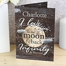 Personalised To the Moon and Infinity Card delivery to UK [United Kingdom]