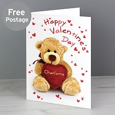 Personalised Teddy Heart Card Delivery UK