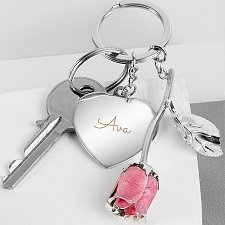 Personalised Silver Plated Name Pink Rose Keyring Delivery UK