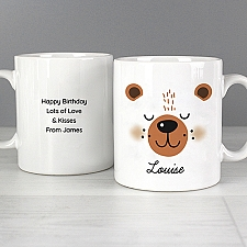 Personalised Cute Bear Face Mug Delivery to UK