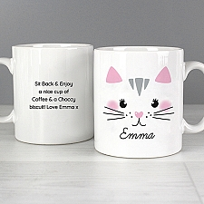 Personalised Cute Cat Face Mug Delivery to UK