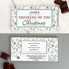 Personalised Thinking of You Christmas Milk Chocolate Bar Delivery UK
