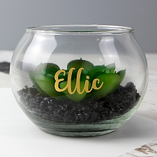 Personalised Gold Name Glass Terrarium Delivery to UK