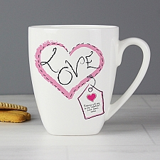 Personalised Heart Stitch Love Latte Mug Delivery to UK
