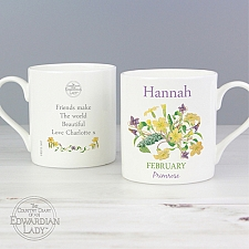 Personalised February Flower Of The Month Balmoral Mug Delivery to UK
