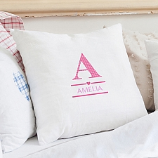 Personalised Girls Initial Cushion Cover delivery to UK