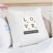 Personalised Love Tiles Cushion Cover delivery to UK