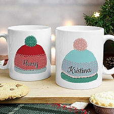 Personalised Woolly Hats Mug Set Delivery to UK
