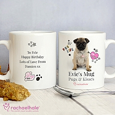 Personalised Rachael Hale Doodle Pug Mug Delivery to UK