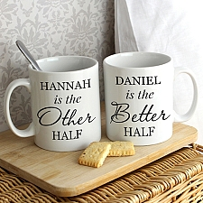 Personalised Other Half and Better Half Mug Set Delivery to UK