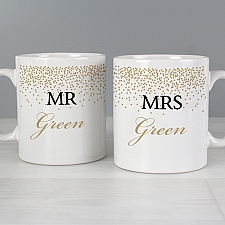 Personalised Gold Confetti Mug Set Delivery to UK