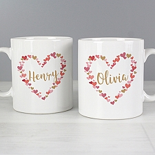 Personalised Confetti Hearts Wedding Mug Set Delivery to UK