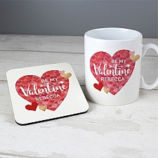 Personalised Valentines Day Confetti Hearts Mug and Coaster Set Delivery to UK
