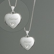 Sterling Cubic Zirconia Heart Locket Delivery to UK