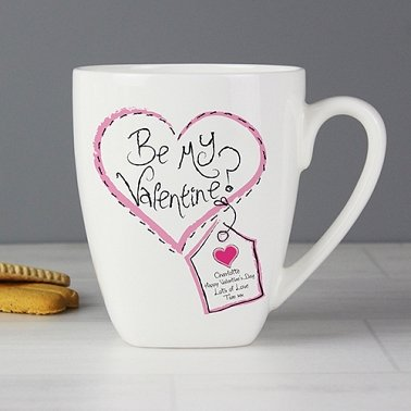 Personalised Stitch Heart Be My Valentine Latte Mug Delivery to UK