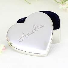 Personalised Name Only Heart Trinket Box Delivery UK