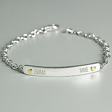 Personalised Two Names Sterling Bracelet Delivery to UK