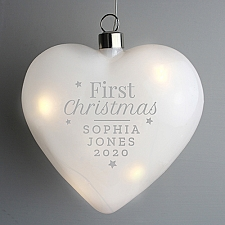 Personalised First Christmas LED Hanging Glass Heart Delivery UK