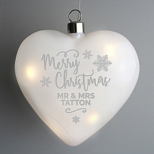 Personalised Merry Christmas LED Hanging Glass Heart Delivery UK