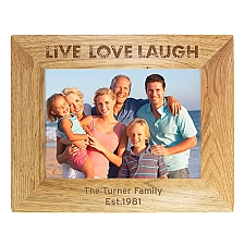 Personalised Love Laugh Wooden Photo Frame Delivery UK