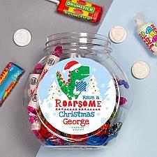 Personalised Dinosaur Christmas Sweet Jar Delivery UK