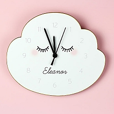 Personalised Eyelash Cloud Shape Wooden Clock Delivery UK